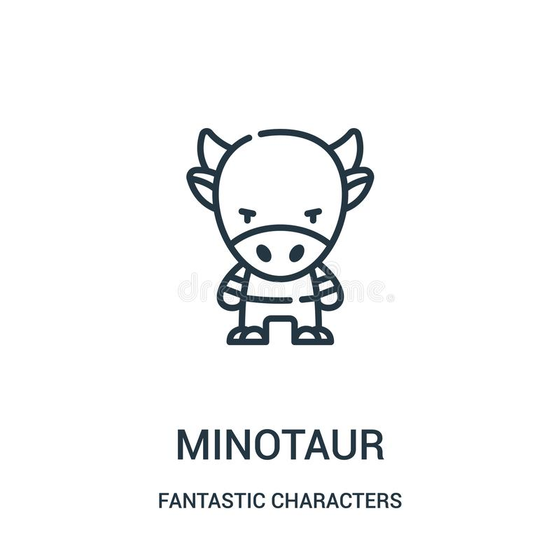 minotaur pictogramvector van fantastische karaktersinzameling De dunne lijn minotaur schetst pictogram vectorillustratie stock illustratie