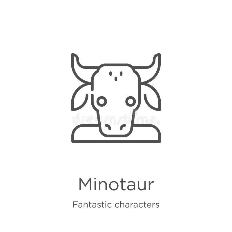 minotaur pictogramvector van fantastische karaktersinzameling De dunne lijn minotaur schetst pictogram vectorillustratie Overzich vector illustratie