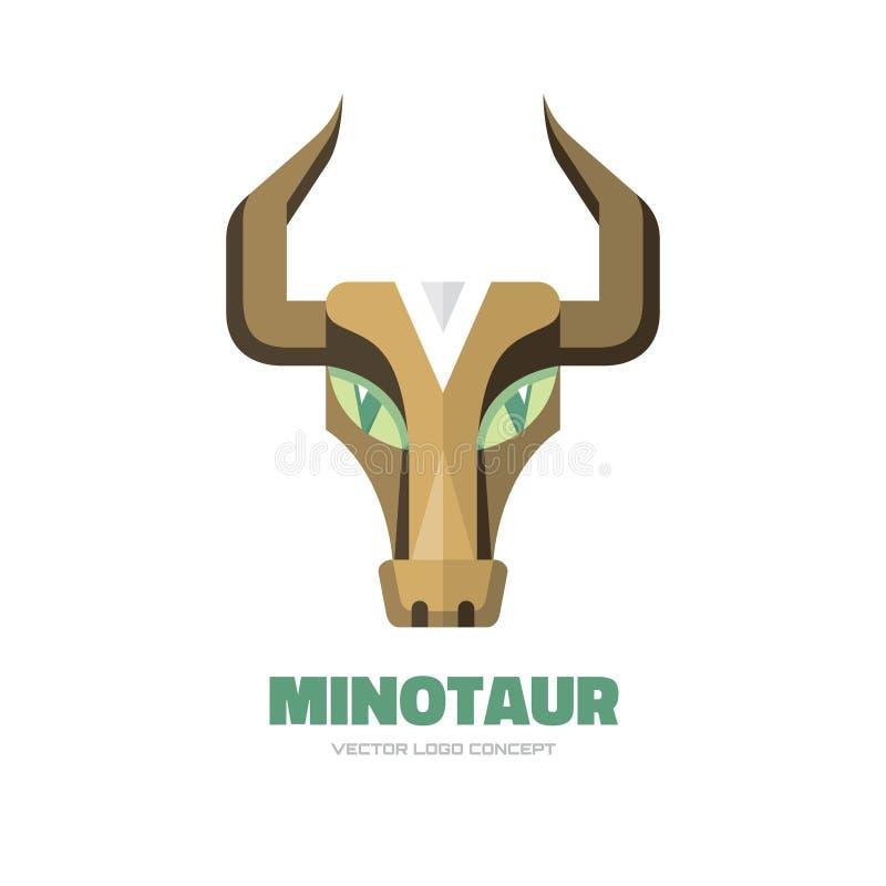 Minotauro - illustrazione di concetto del modello di logo di vettore Segno capo della Buffalo Simbolo del fronte del taurus del t illustrazione di stock