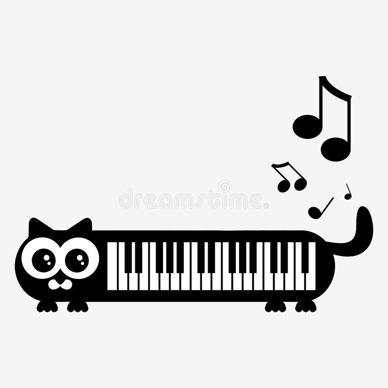 Minou de piano illustration stock