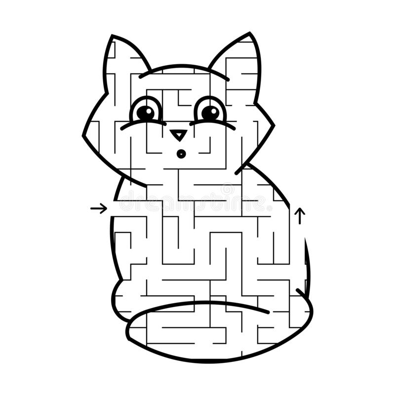 Minou mignon de labyrinthe Jeu pour des gosses Puzzle pour des enfants Type de dessin animé Énigme de labyrinthe Illustration bla illustration libre de droits