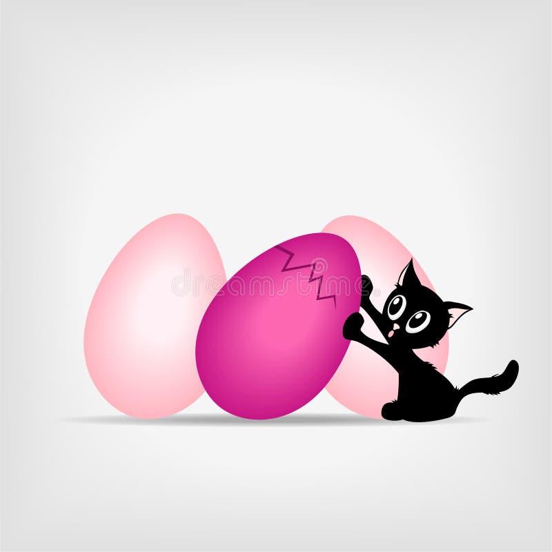 Minou noir avec de grands oeufs de pâques roses illustration stock