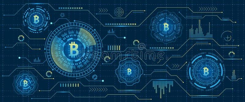 Minować Bitcoin Cryptocurrency, Cyfrowego strumień Futurystyczny pieniądze Blockchain kryptografia ilustracji