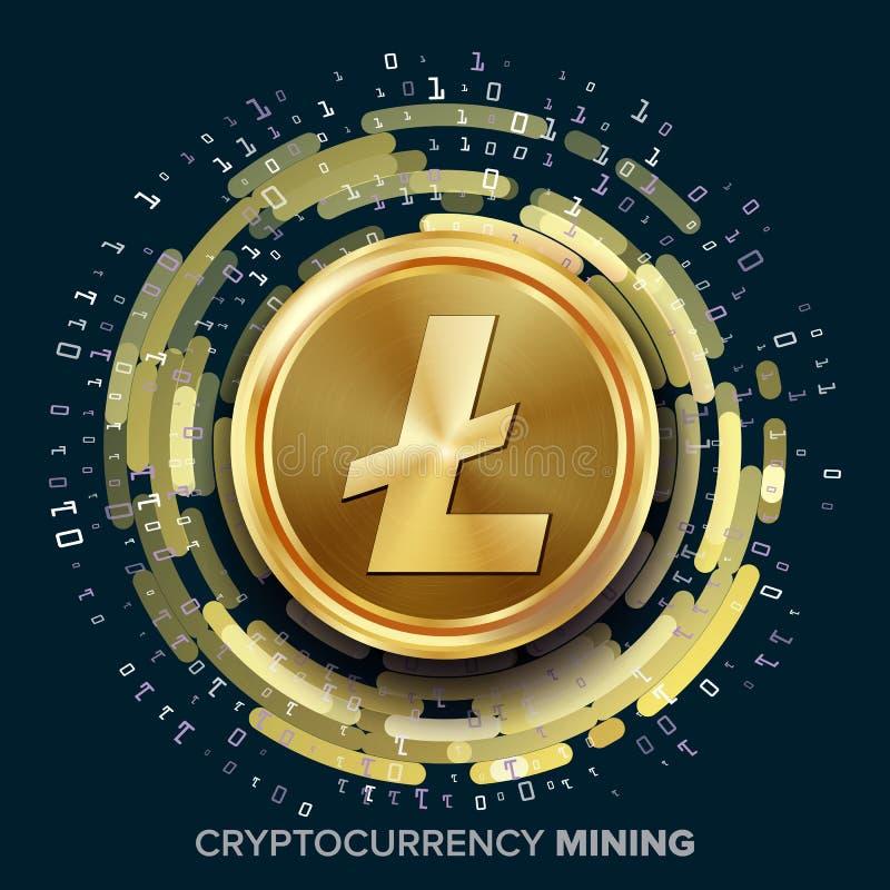 Minować Litecoin Cryptocurrency wektor Złota moneta, Cyfrowego strumień royalty ilustracja