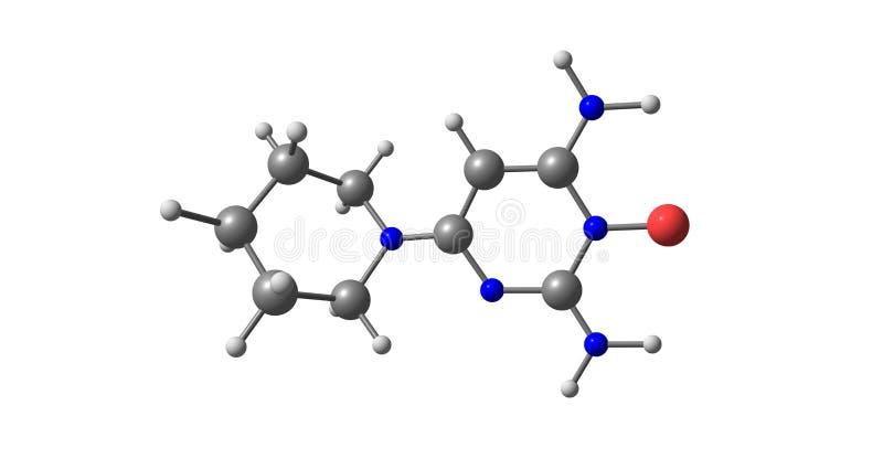 Minoxidil molekylär struktur som isoleras på vit stock illustrationer
