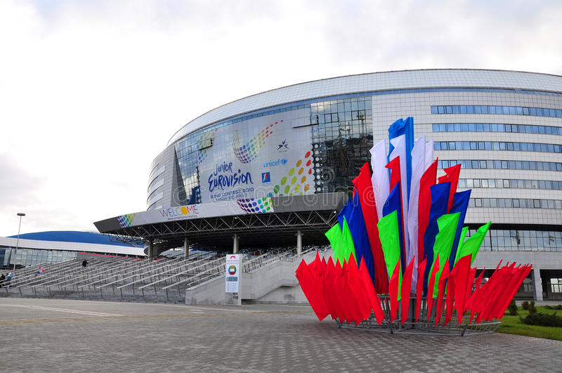 Minsk Arena. The venue for the 2010 Junior Eurovision Song Contest and 2014 Men's World Ice Hockey Championships, the Minsk Arena is one of the most modern ones stock photography