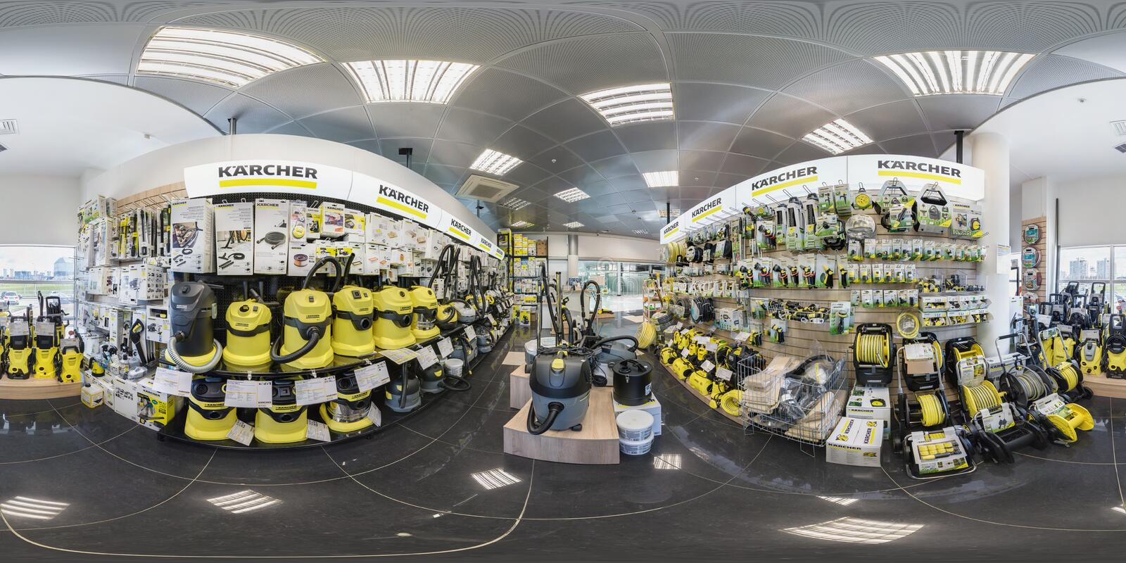 MINSK, BELARUS - APRIL, 2017: full seamless panorama 360 angle degrees view in interior of luxury vacuum cleaner store Karcher and stock images