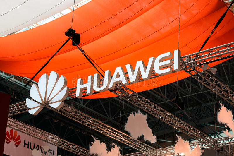 MINSK, BELARUS - April 18, 2017: Huawei stand logo on TIBO-2017 the 24th International Specialized Forum on Telecommunications, In stock photos