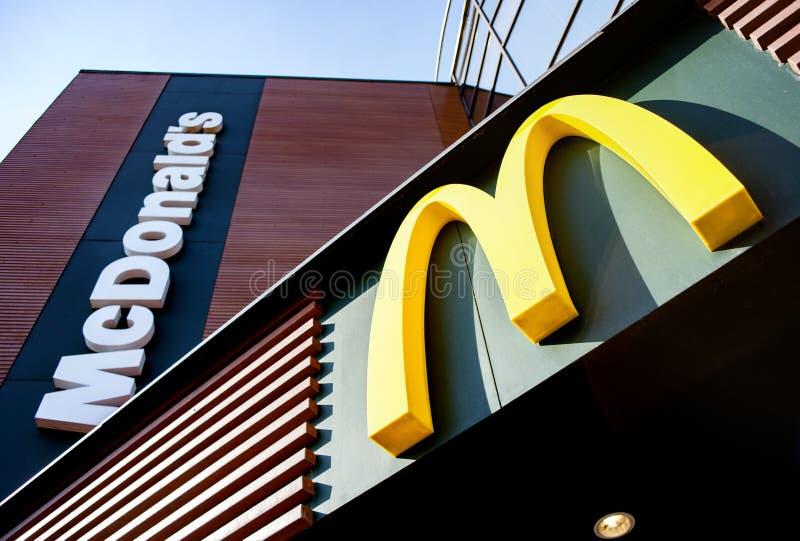 Minsk, Belarus - April 6, 2019: McDonald`s logo. McDonald`s is the world`s largest chain of hamburger fast food restaurants royalty free stock image