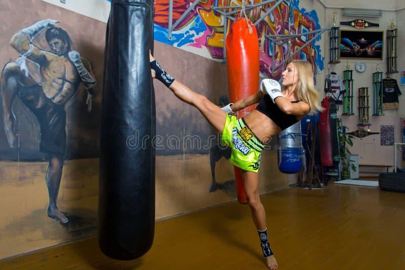 Minsk, Belarus - August 2, 2013: Catherine Vandareva - multiple World and European champion in Thai boxing and Muaythai during royalty free stock photo