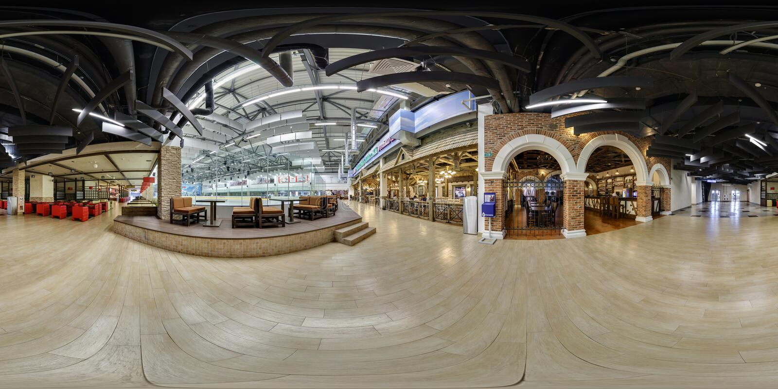 MINSK, BELARUS - AUGUST 26, 2014: Full 360 panorama in equirectangular spherical projection in stylish modern trade market center stock photos