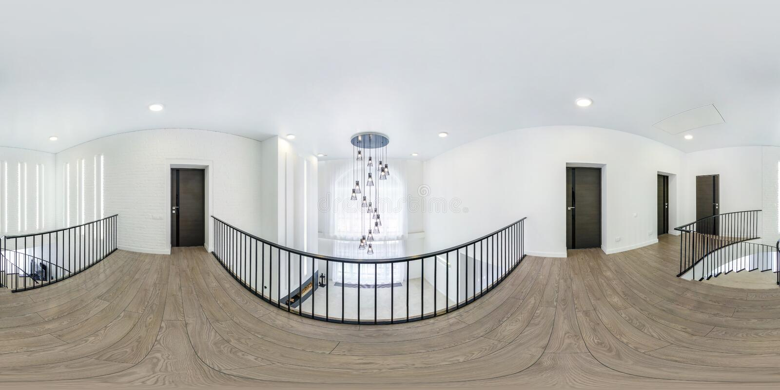 MINSK, BELARUS - AUGUST, 2018: full seamless spherical hdri panorama 360 degrees angle view in interior of hall with stairs and royalty free stock photo