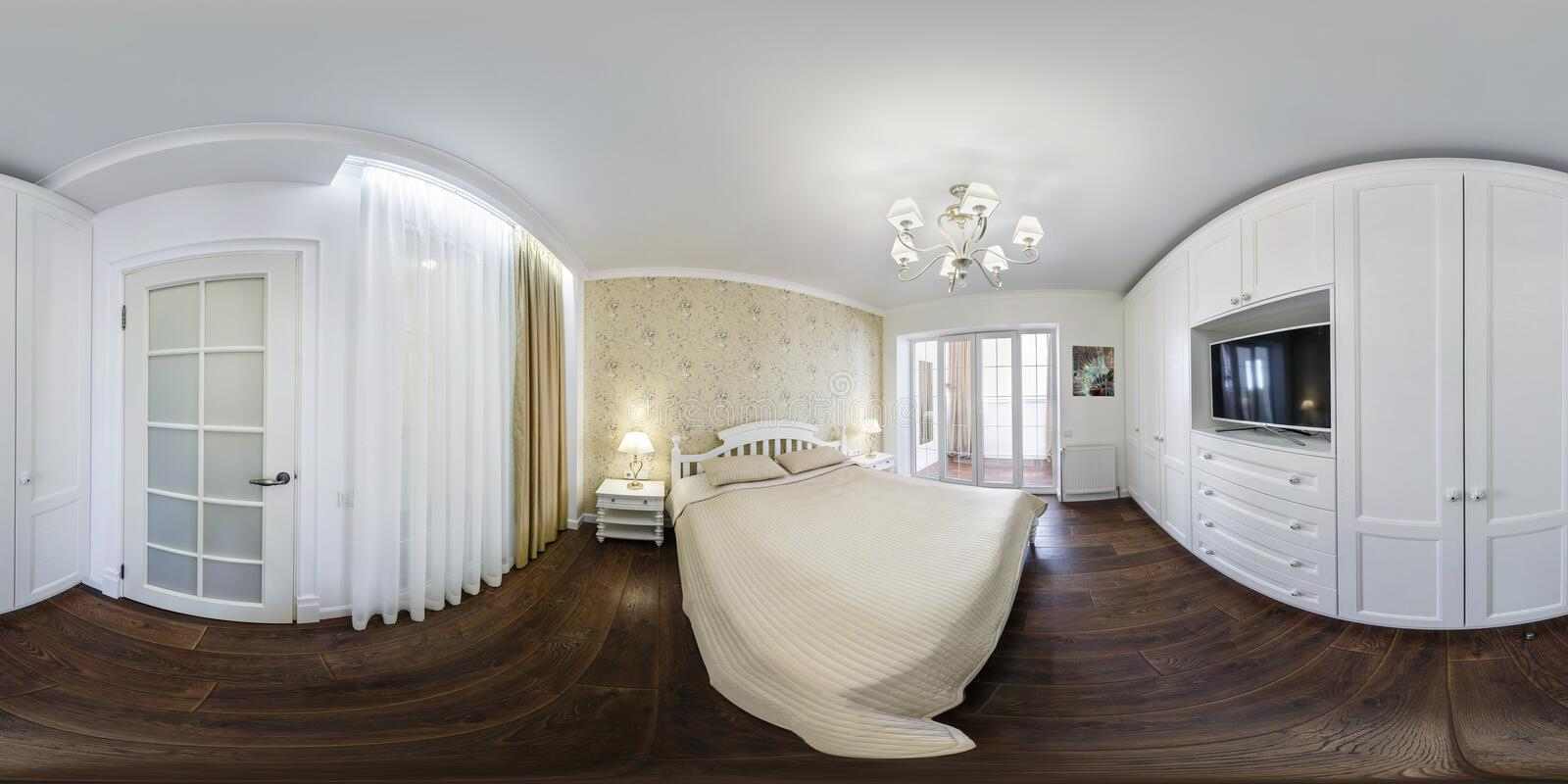 MINSK, BELARUS - AUGUST, 2018: full seamless spherical hdri panorama 360 in in interior bedroom of modern flat apartments in royalty free stock photo