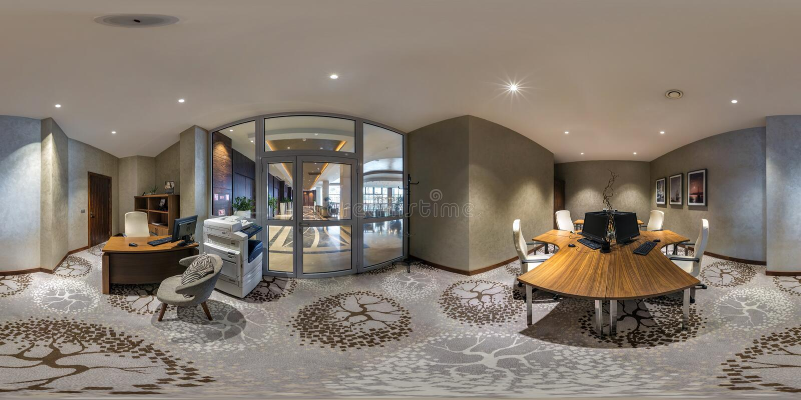 MINSK, BELARUS - AUGUST, 2017:  full seamless spherical Panorama 360 degrees in interior computer room for businessmen in modern stock images