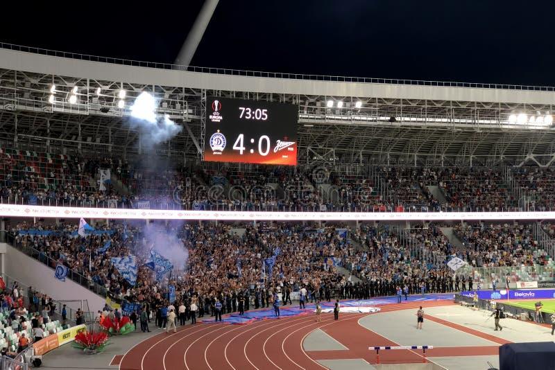 MINSK, BELARUS - AUGUST 9, 2018: UEFA Europa League third qualifying round match between FC Dynamo Minsk and FC Zenit Saint- stock image