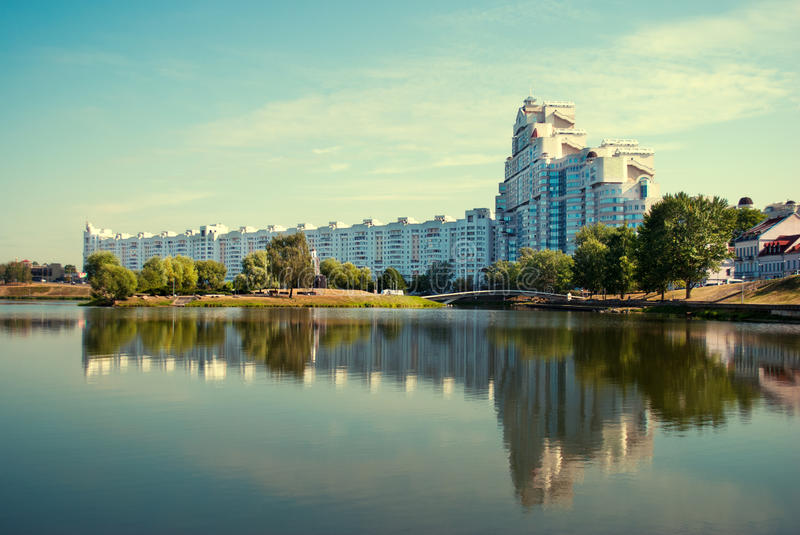 MINSK, BELARUS Building In Minsk,. Downtown Nyamiha View With Svi stock photo