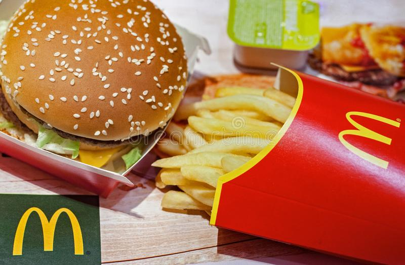 Minsk, Belarus, December 27, 2018: Big Mac and French fries in McDonald`s Restaurant. Big Mac and French fries in McDonald`s Restaurant stock photo