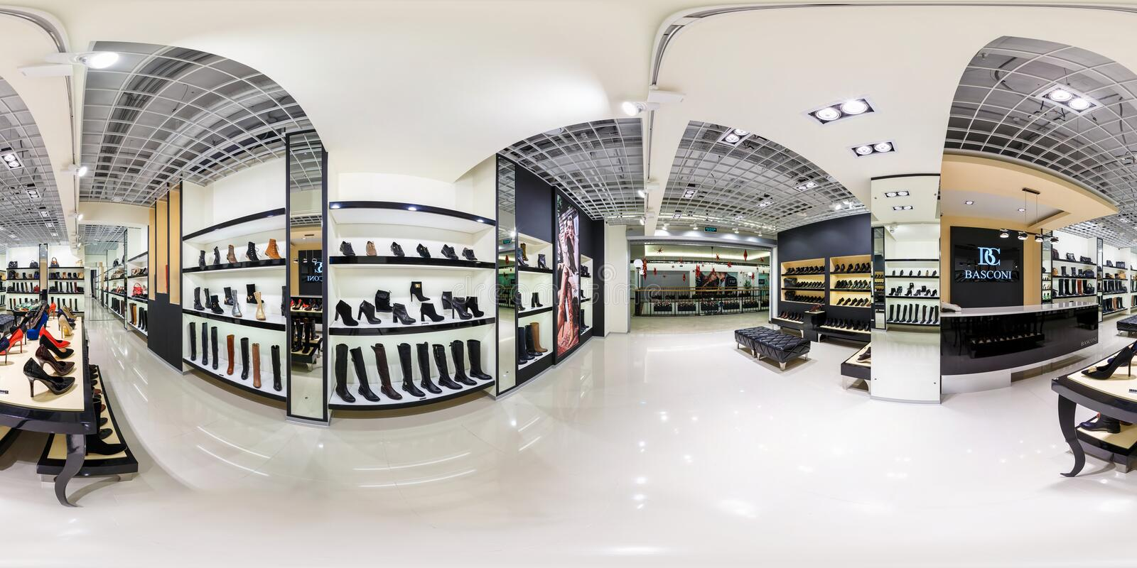 MINSK, BELARUS - DECEMBER 3, 2013: full 360 degree panorama in equirectangular spherical projection in shop of stylish shoes, VR stock photo
