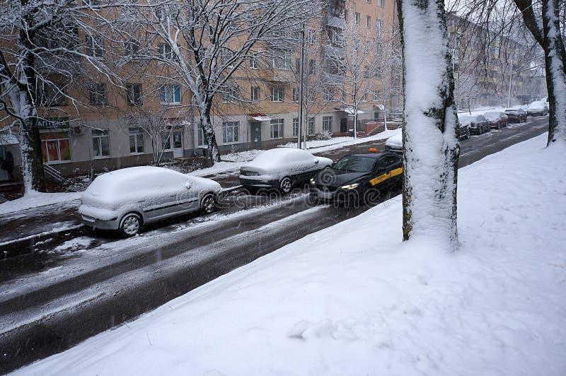 Winter urban scene royalty free stock photography