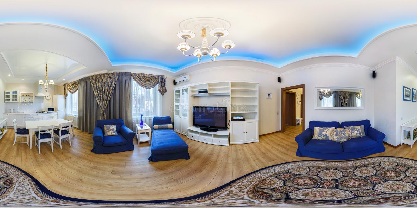 MINSK, BELARUS - FEBRUARY 27, 2014: full 360 degree seamless panorama in equirectangular spherical equidistant projection. Panorama in interior of modern stock photo
