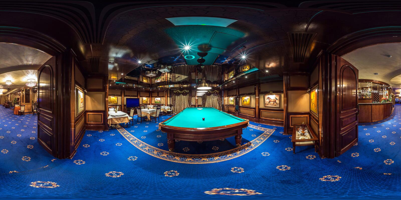 MINSK , BELARUS - FEBRUARY, 2015: full seamless spherical panorama 360 degrees angle Inside interior of luxury stylish gold casino royalty free stock photo