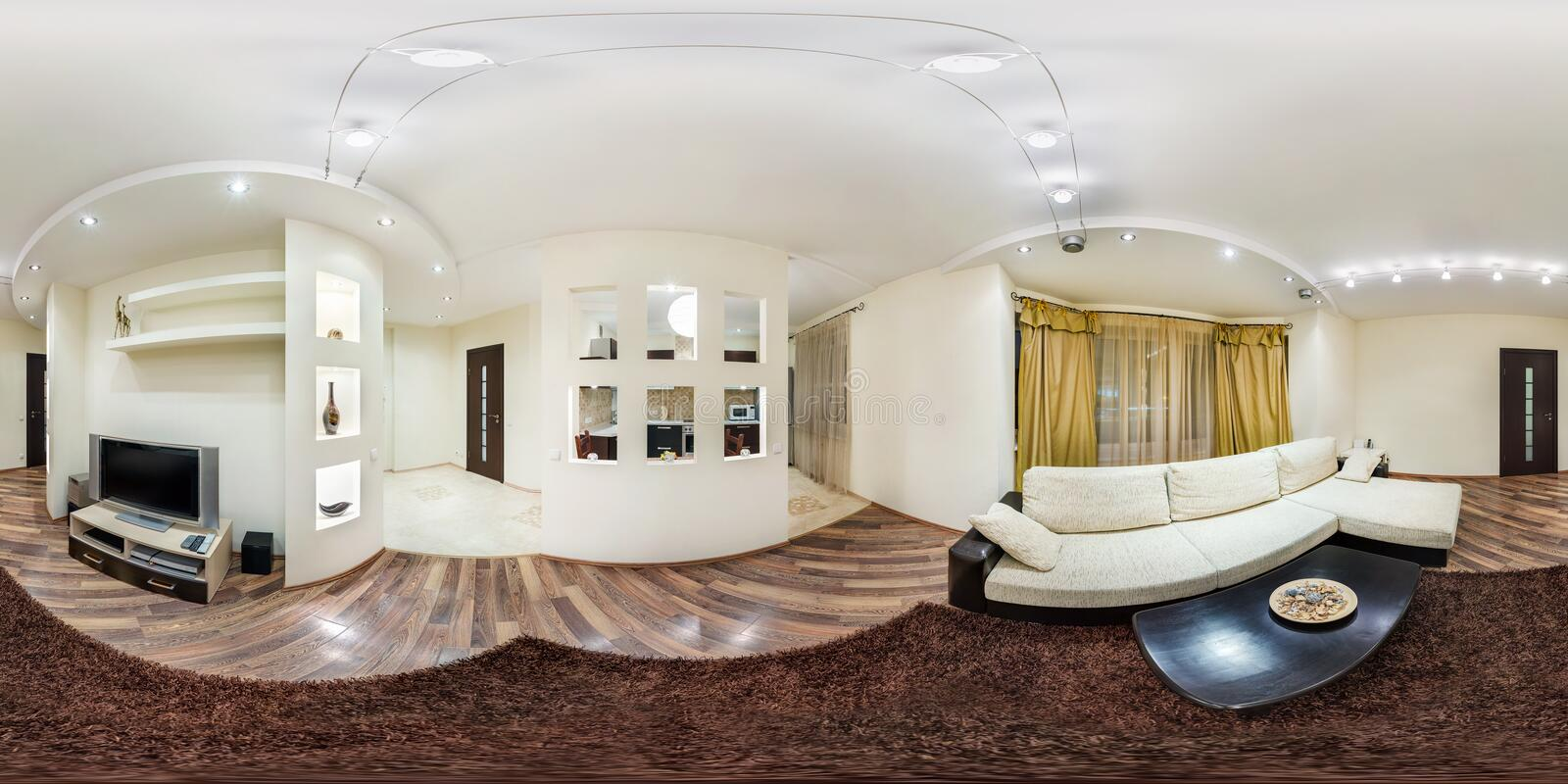 MINSK, BELARUS - FEBRUARY 2, 2013: Full spherical 360 by 180 degrees seamless panorama in equirectangular equidistant projection,. Panorama in interior stock photos
