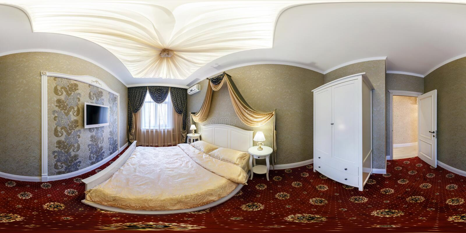 MINSK, BELARUS - FEBRUARY 27, 2014: Full spherical 360 by 180 degrees seamless panorama in equirectangular equidistant projection. Panorama in interior bedroom stock photos