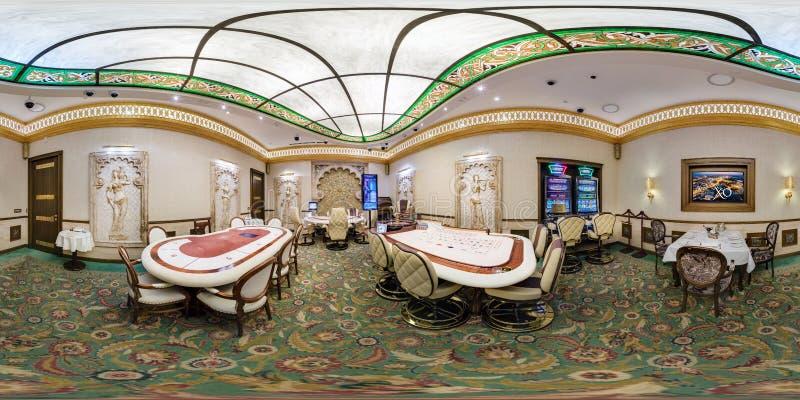 MINSK , BELARUS - FEBRUARY 14, 2015: Inside white arabic interior of luxury stylish gold casino XO. Full 360 degree panorama in royalty free stock images