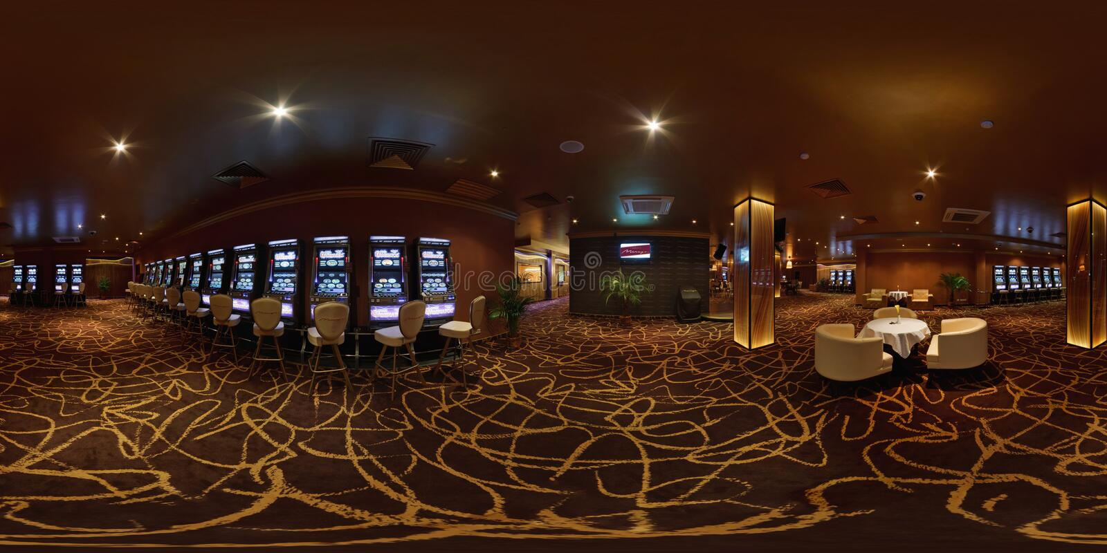 MINSK, BELARUS - FEBRUARY 14, 2011: Panorama of interier hall luxury casino, full 360 seamless panorama in equirectangular stock photo