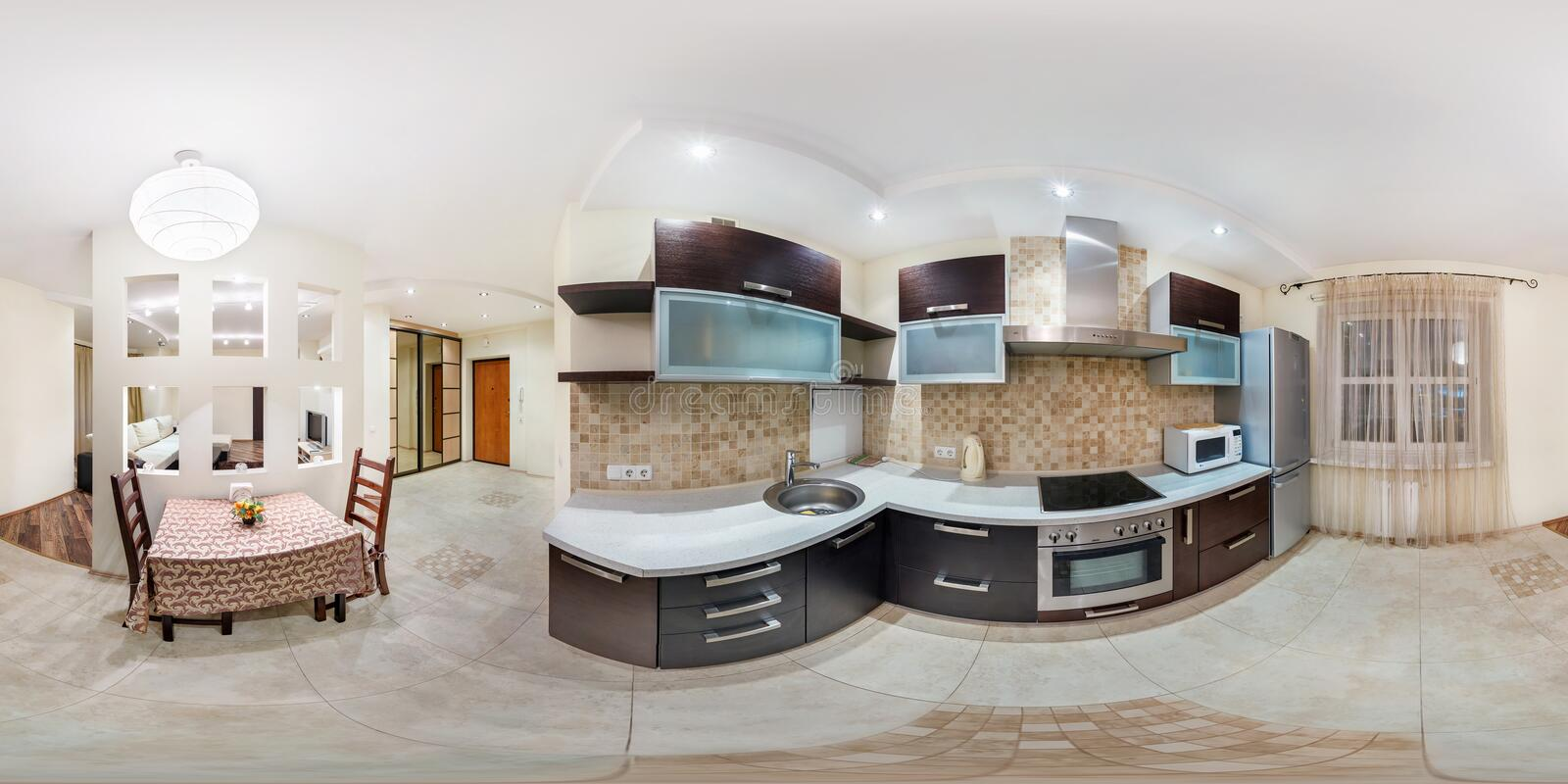 MINSK, BELARUS - FEBRUARY 1, 2013: Panorama in interior stylish kitchen in modern flat in pastel color. Full 360 degree seamless royalty free stock photo