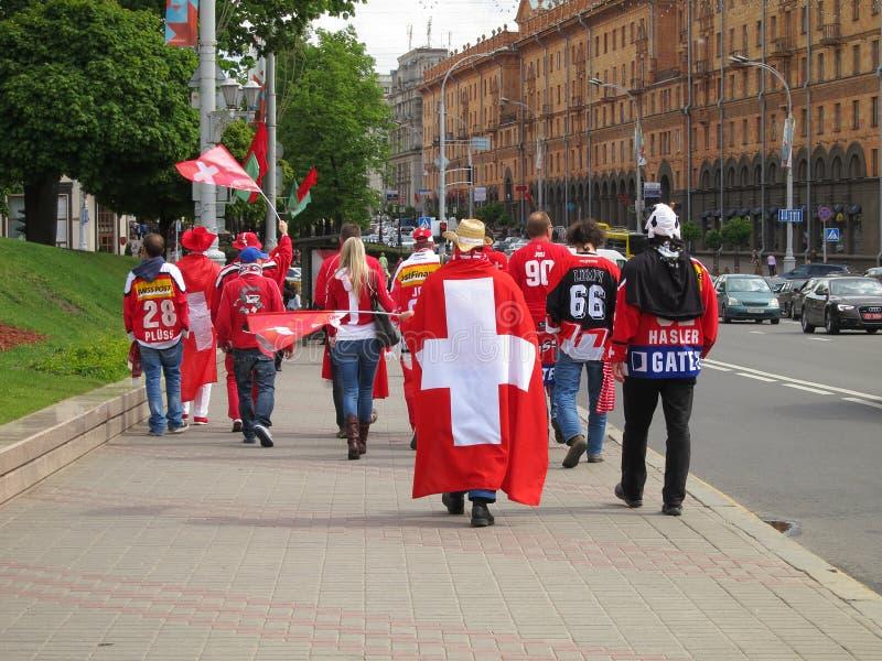 Minsk Belarus : Ice Hockey 2014 World Championship. Minsk Belarus Ice Hockey World Championship : Swiss fans celebrate Switzerland win over Germany, May 14, 2014 stock images