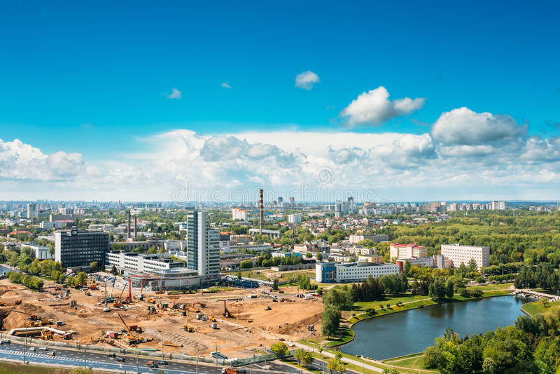 Minsk, Belarus Ideia aérea da independência imagens de stock royalty free
