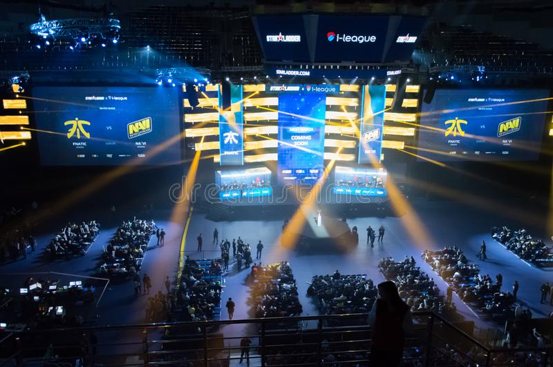 MINSK, BELARUS - JANUARY 17, 2016 Starladder championship of Dota 2 and Counter Strike: Global Offensive. Esports arena royalty free stock photos