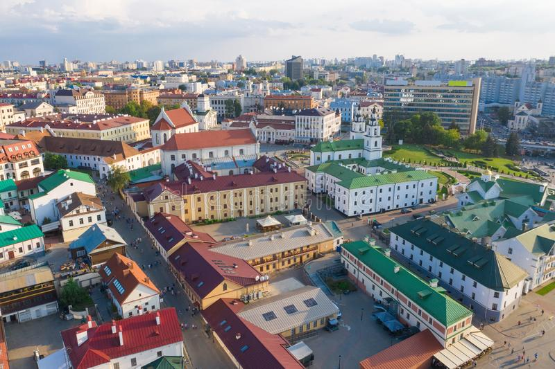 MINSK, BELARUS - JULY 2019: Aerial view on a Trinity suburb - old historic centre, and Minsk city, Minsk, Belarus royalty free stock photo