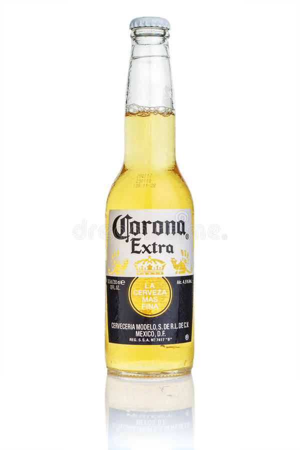 MINSK, BELARUS - JULY 10, 2017: Editorial photo of bottle of Corona Extra beer isolated on white, one of the top-selling beers wor royalty free stock photo
