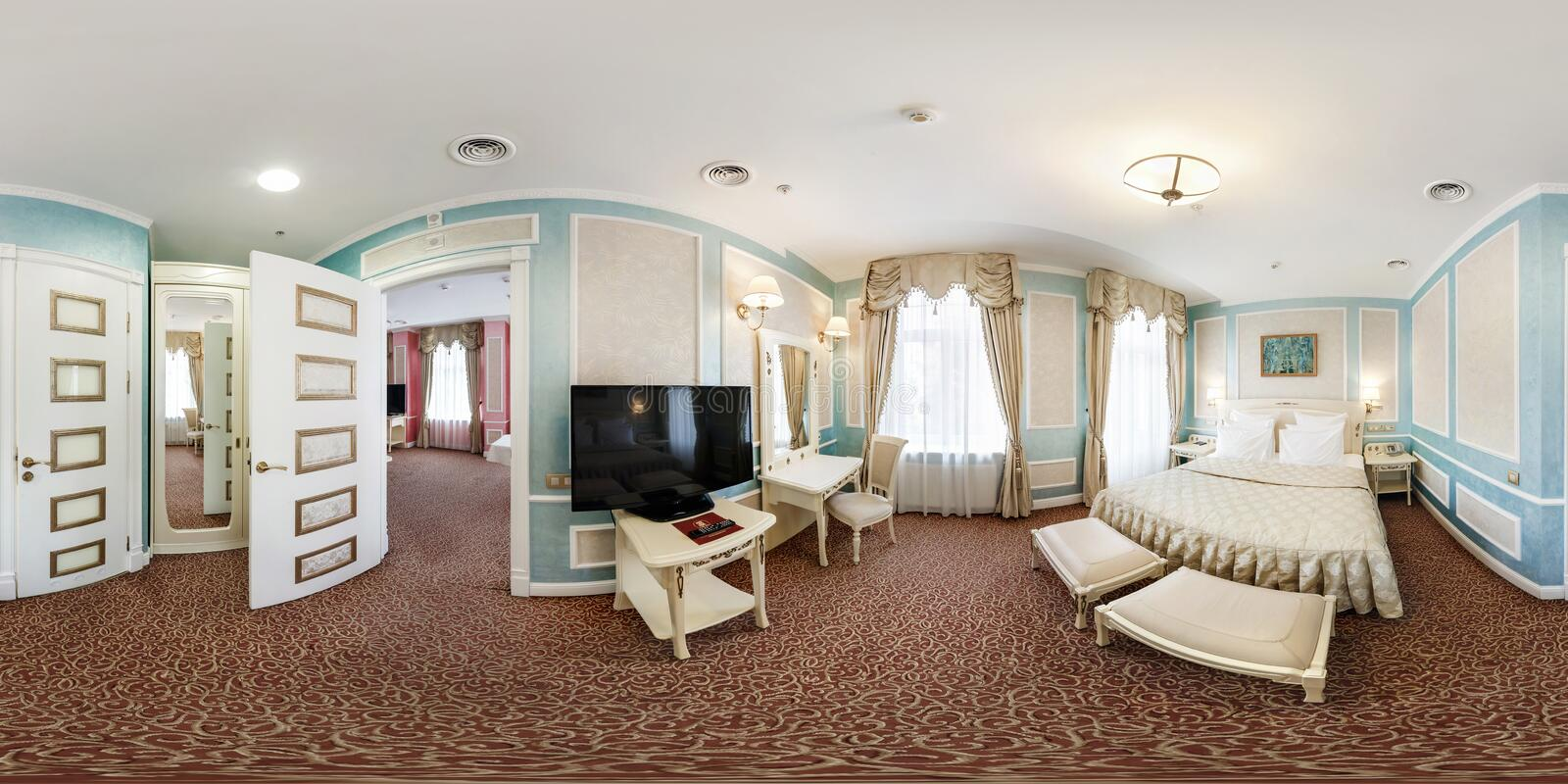 MINSK, BELARUS - JULY, 2016: Full spherical 360 by 180 degrees seamless hdri panorama in interior hall bedroom in modern hotel in royalty free stock photography