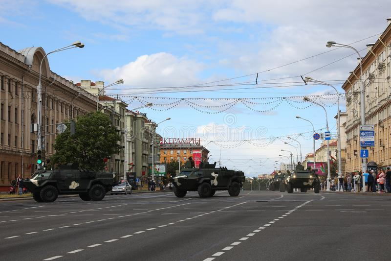 Minsk, Belarus - July 3, 2019: military vehicles on its way to the parade of the Independence Day of Belarus on July 3rd stock image