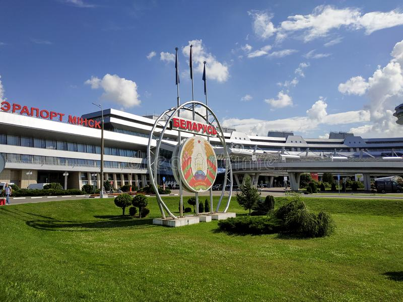 Minsk - National Airport. Minsk, Belarus - July 14, 2018: Minsk National Airport former name Minsk-2 is the main international airport in Belarus royalty free stock image