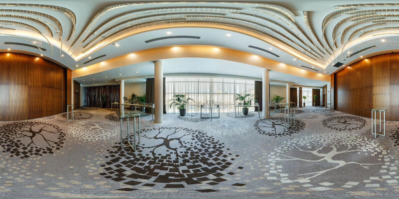 MINSK, BELARUS - JULY, 2017: panorama 360 angle view in interior of luxury empty conference hall for business meetings with stock image