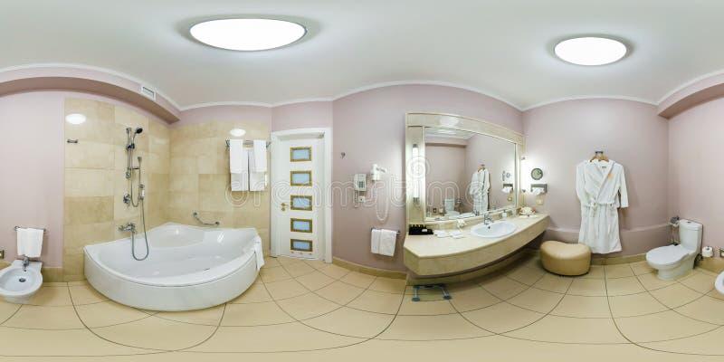 MINSK, BELARUS - JULY 14, 2016: Panorama in interior white bathroom restroom in elite hotel. Full spherical 360 by 180 degrees royalty free stock photo