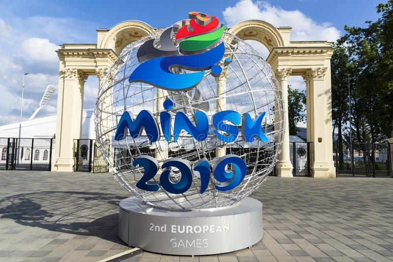 Minsk, Belarus, June 9, 2019. 2 European Games. Light ball with the logo of European games near the entrance to the. Sports stadium, photographed in the royalty free stock photos