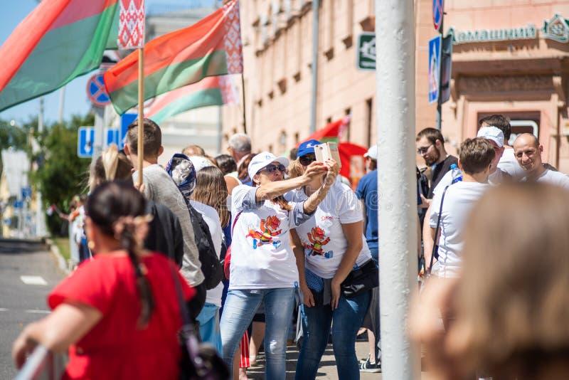 Minsk, Belarus - June 23, 2019: Fans in the city stock image