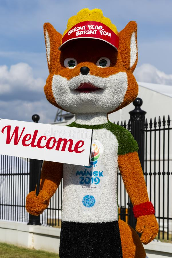 Minsk, Belarus, June 9, 2019. The growth figure of a red fox - the official mascot of the 2nd European Games - Fox Lesik. Stands near the sports stadium and royalty free stock photo