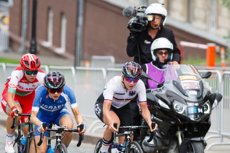 MINSK, BELARUS - 22 June 2019: 2nd European Games Women`s cycle road race.  stock image