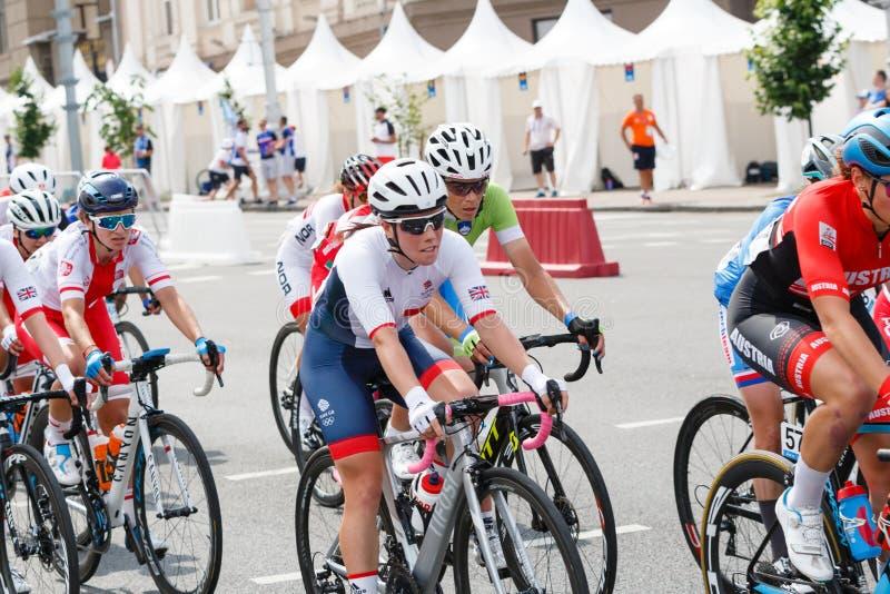 MINSK, BELARUS - 22 June 2019: 2nd European Games Women`s cycle road race.  royalty free stock images