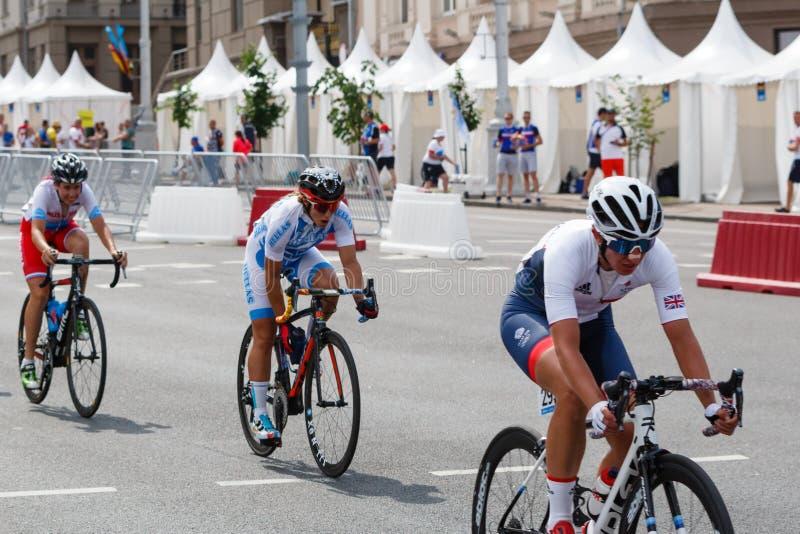 MINSK, BELARUS - 22 June 2019: 2nd European Games Women`s cycle road race.  stock photography