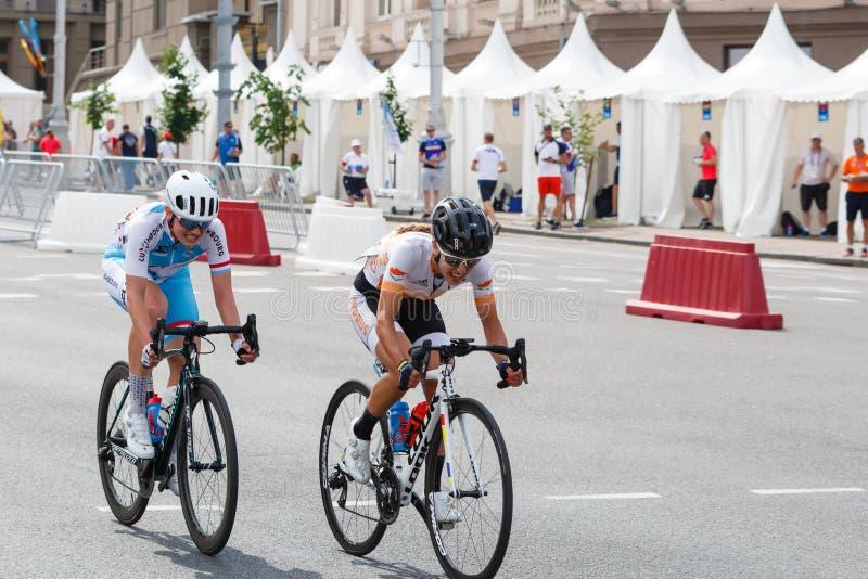 MINSK, BELARUS - 22 June 2019: 2nd European Games Women`s cycle road race.  royalty free stock photo