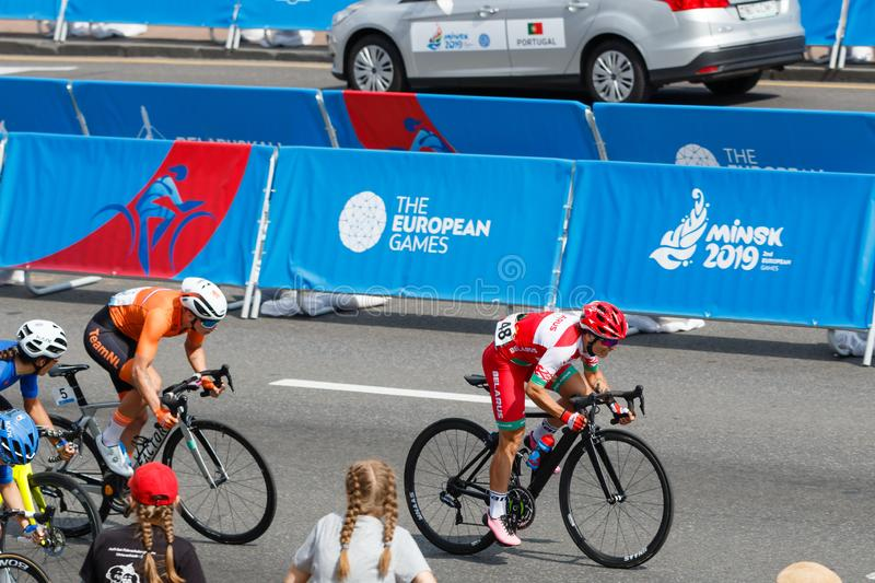 MINSK, BELARUS - 22 June 2019: 2nd European Games Women`s cycle road race. Athlets is on home stretch royalty free stock photos