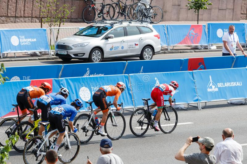 MINSK, BELARUS - 22 June 2019: 2nd European Games Women`s cycle road race. Athlets is on home stretch.  royalty free stock image