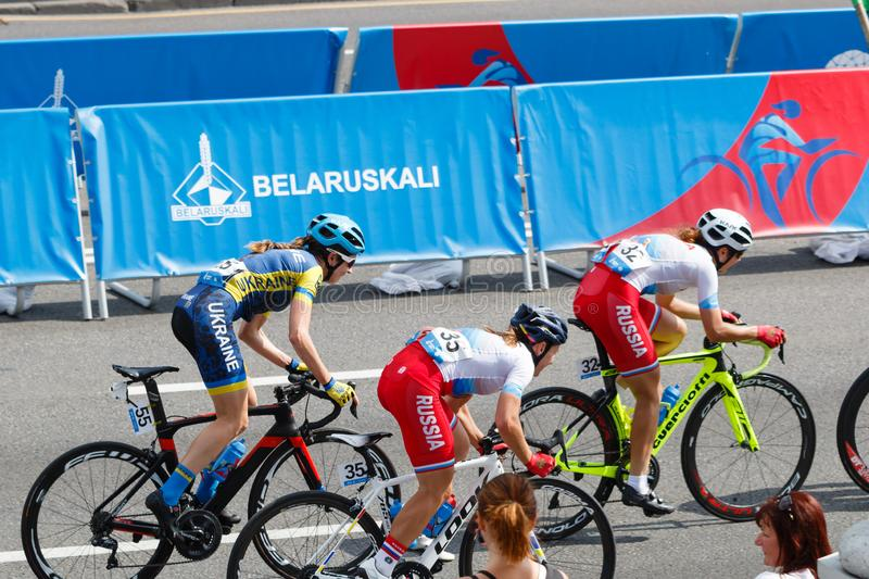 MINSK, BELARUS - 22 June 2019: 2nd European Games Women`s cycle road race. Athlets is on home stretch.  stock image